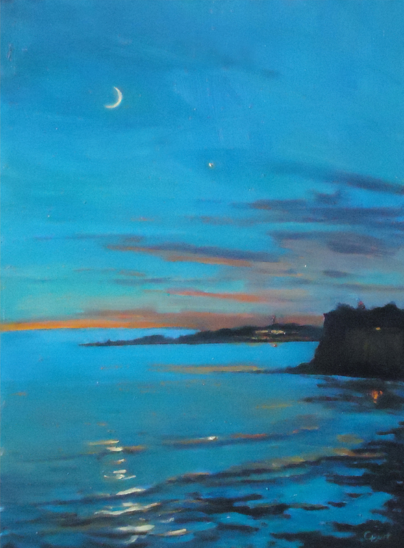 Jupiter and Crescent Moon, 12 x 16 inches