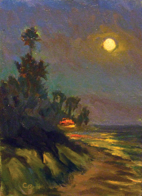 Moon Over Butterfly Beach, 5 x 7 inches