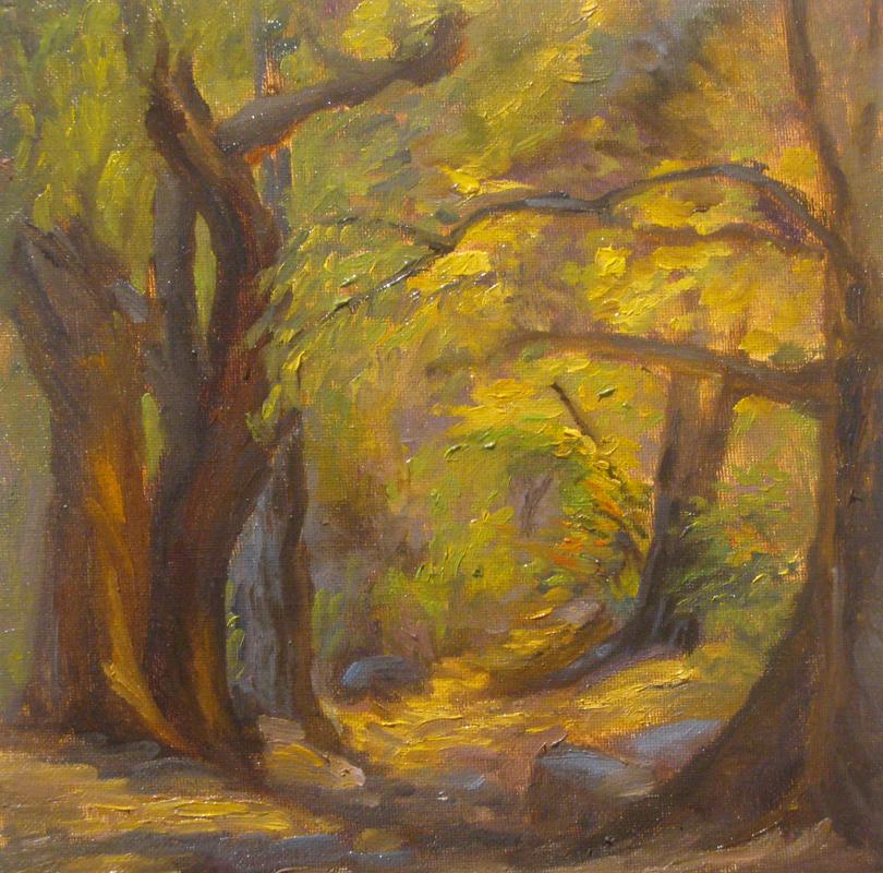 Autumn Path, 10 x 10 inches