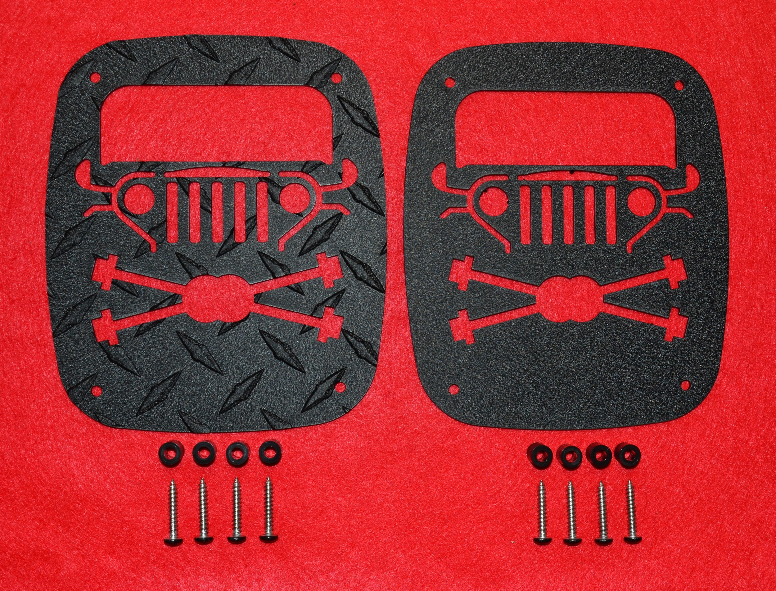 1976 - 2006 WRANGLER GUARDS CROSS AXLE DESIGN SHOWN ABOVE, NEW DESIGN. ALL OUR GUARDS ARE REVERSABLE.