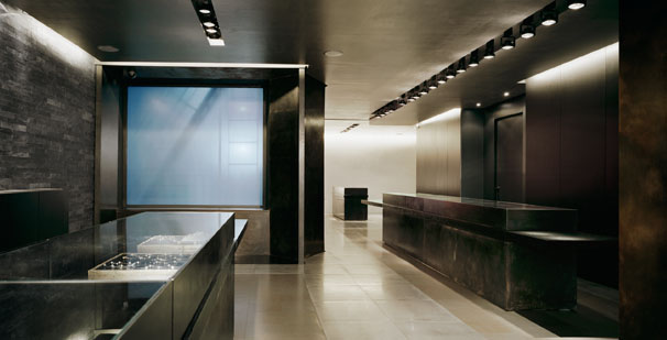 Manfredi Jewelers  Custom display cases and wall panels, blackened steel panels and glass