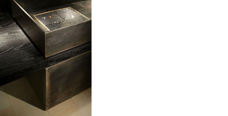 Manfredi Jewelers  Custom display cases, b lackened steel and glass