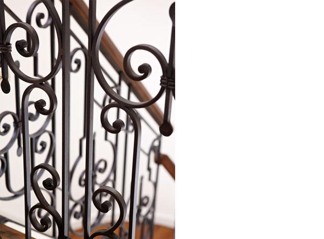 Interior Stair Railing  Custom blackened steel balustrade