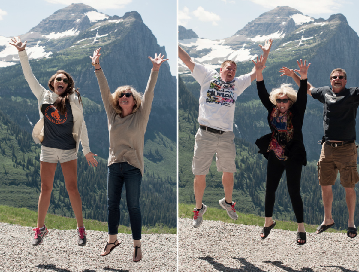 Our crazy family jumping off the mountain