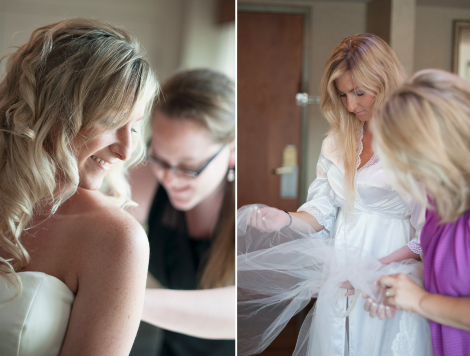 That's Kally's sister Rebecca zipping her up, and that veil is the very same one Kally's mom wore when she got married :)