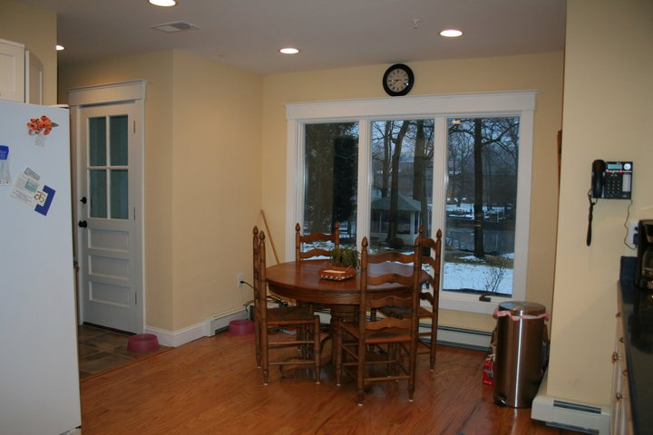 After: see that back door? It's original and hasn't been moved. The breakfast nook, however, is new. Fortunately the original kitchen was in great shape and laid out in a sensible configuration, so little needed to be changed in that respect.