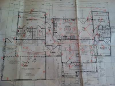 This is how the electrical plan is typically developed: the electrician and homeowner mark up my floor plan together to decide on placement of switches, outlets, and light fixtures. I can design and draw an electrical plan for your project instead, but you can save that money by taking this route.