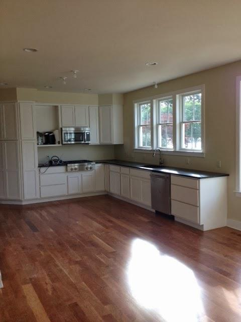 Obviously this is a light-filled space. Once these owners have settled in they'll have me design some outdoor covered porches and a deck, planned to allow plenty of sunshine afterward.