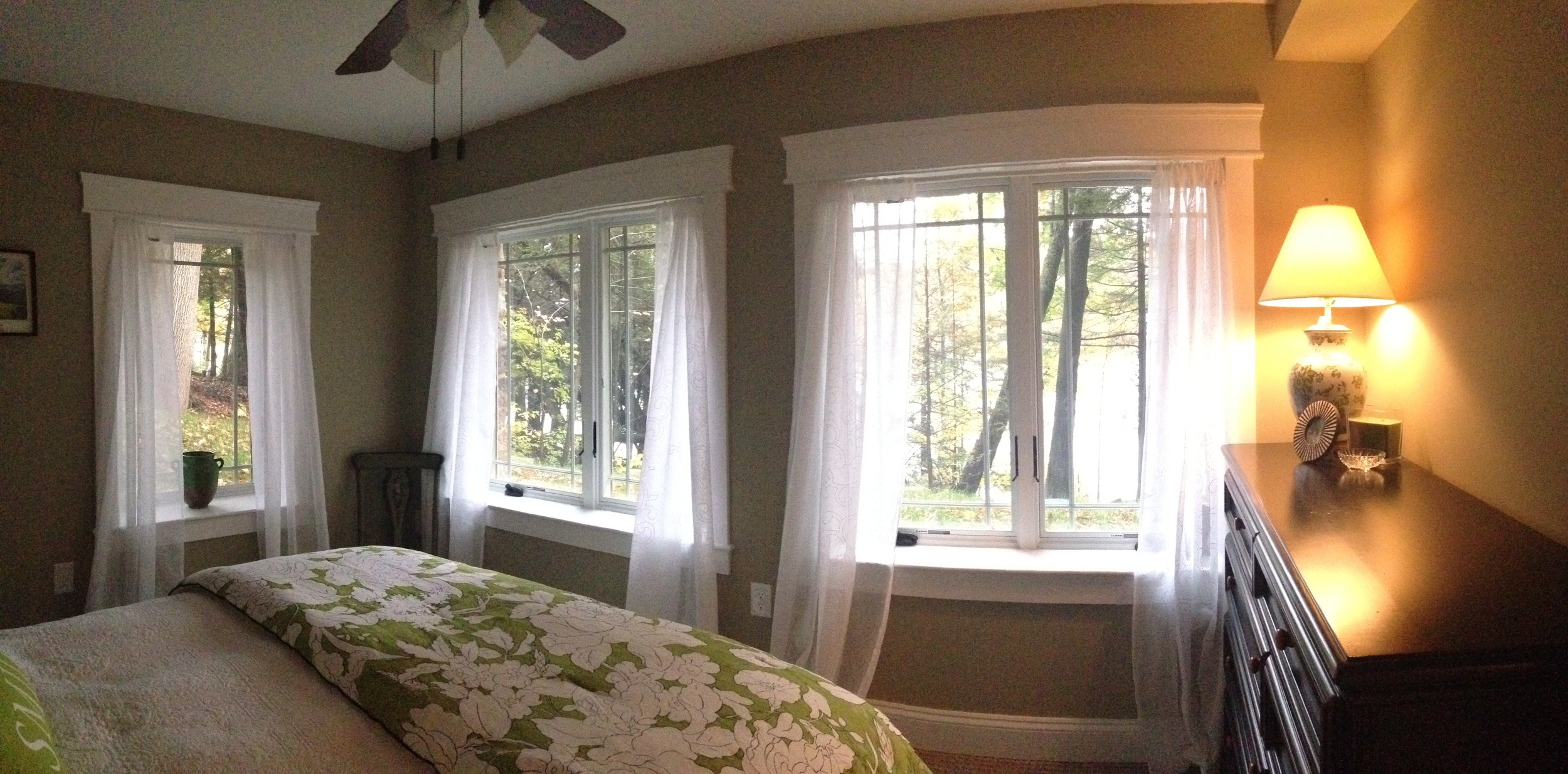 New basement level bedroom with lots of glass facing the lake.