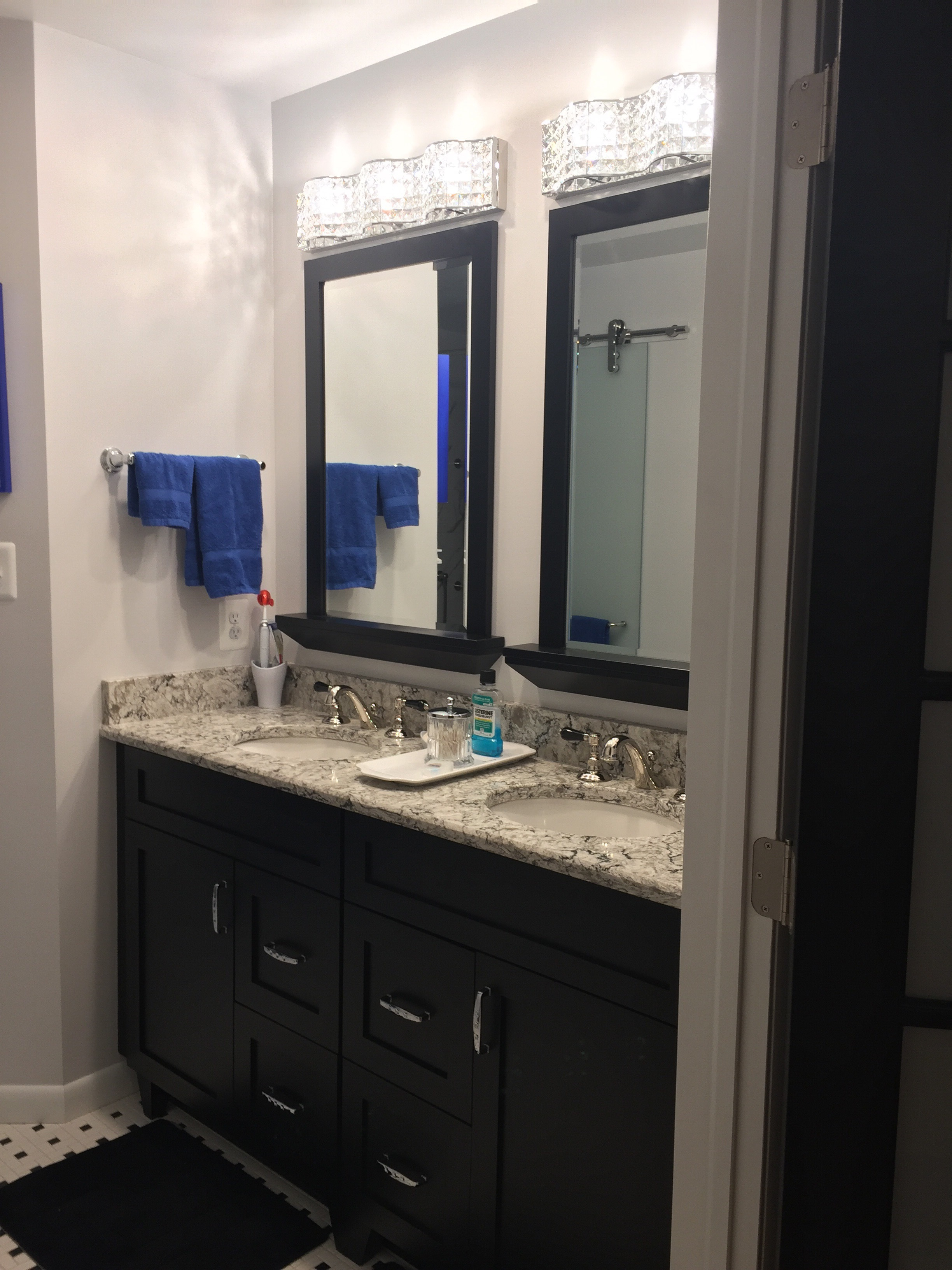 After, the new master bathroom vanity, with water closet to the left.