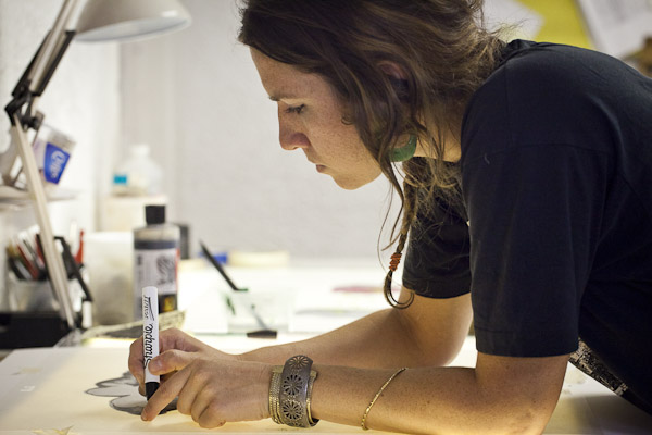 Lacey working on her Serie print in 2011.