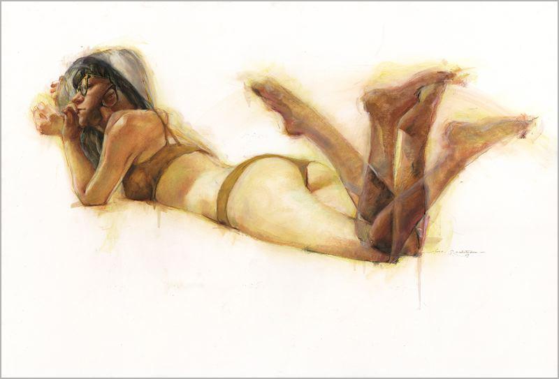 """""""Over Shoulder"""" Pastel on Paper 2013 / 38"""" x 26"""" /  by Jane Radstrom"""