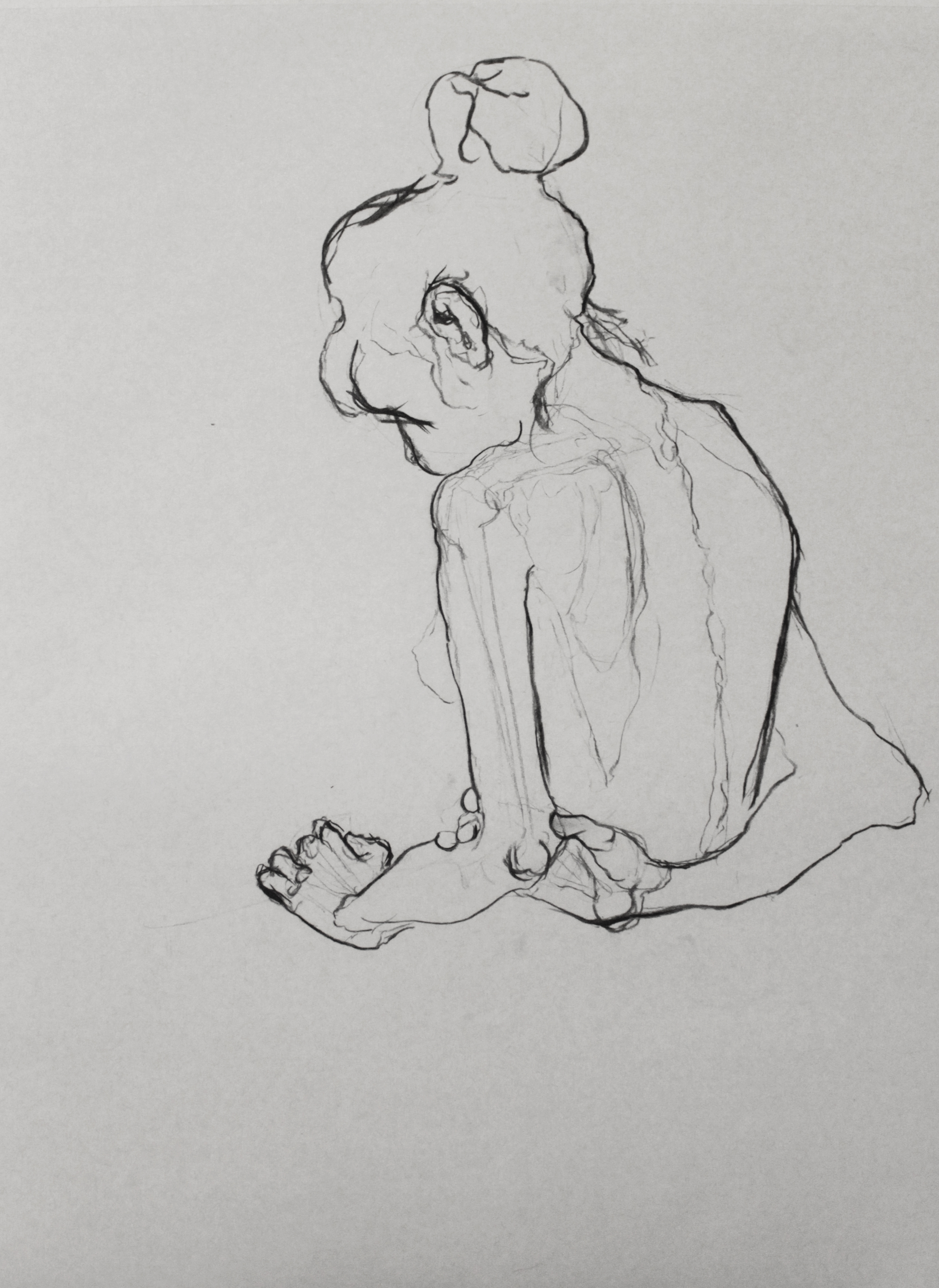 A figure study from the life drawing class with Vera Claeys. See the previous post.