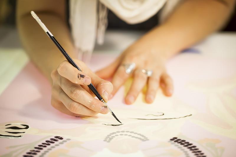 Paloma working on her Serie print in 2012 at Coronado Studio, Austin, TX.
