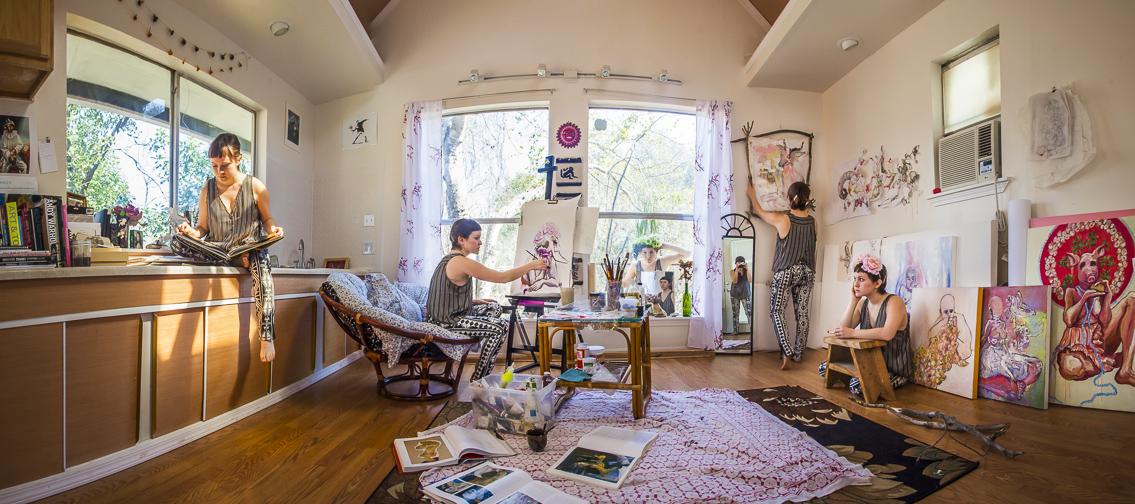 Panorama of Paloma Mayorga in her home studio.