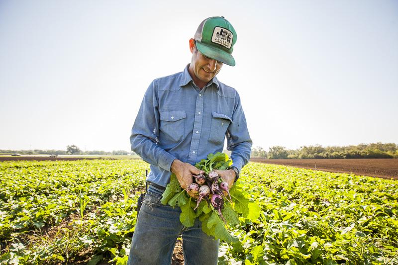 Brenton Johnson, the owner of JBG, holds some freshly picked radishes.