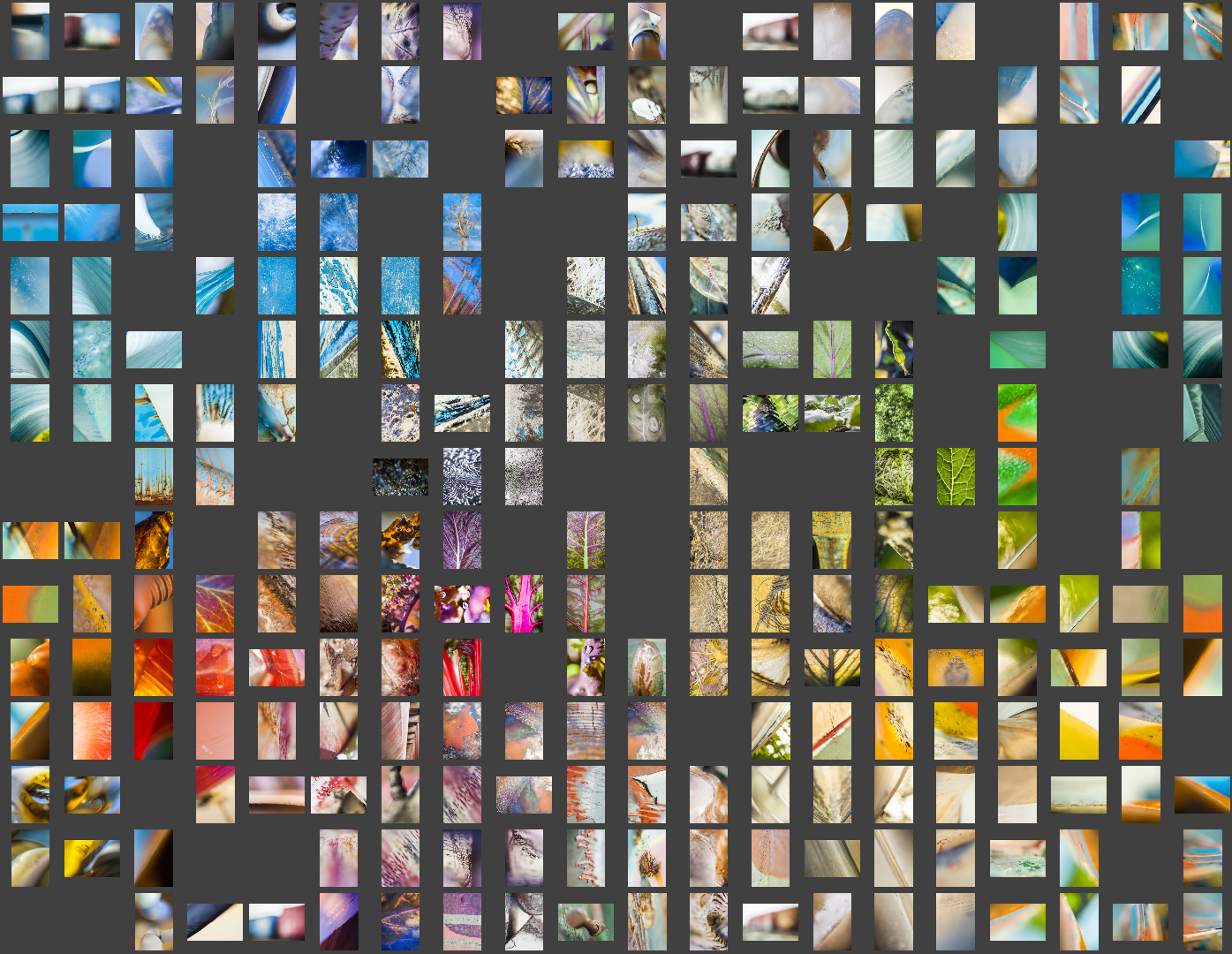 This graphic shows all 200+ images grouped according to color.