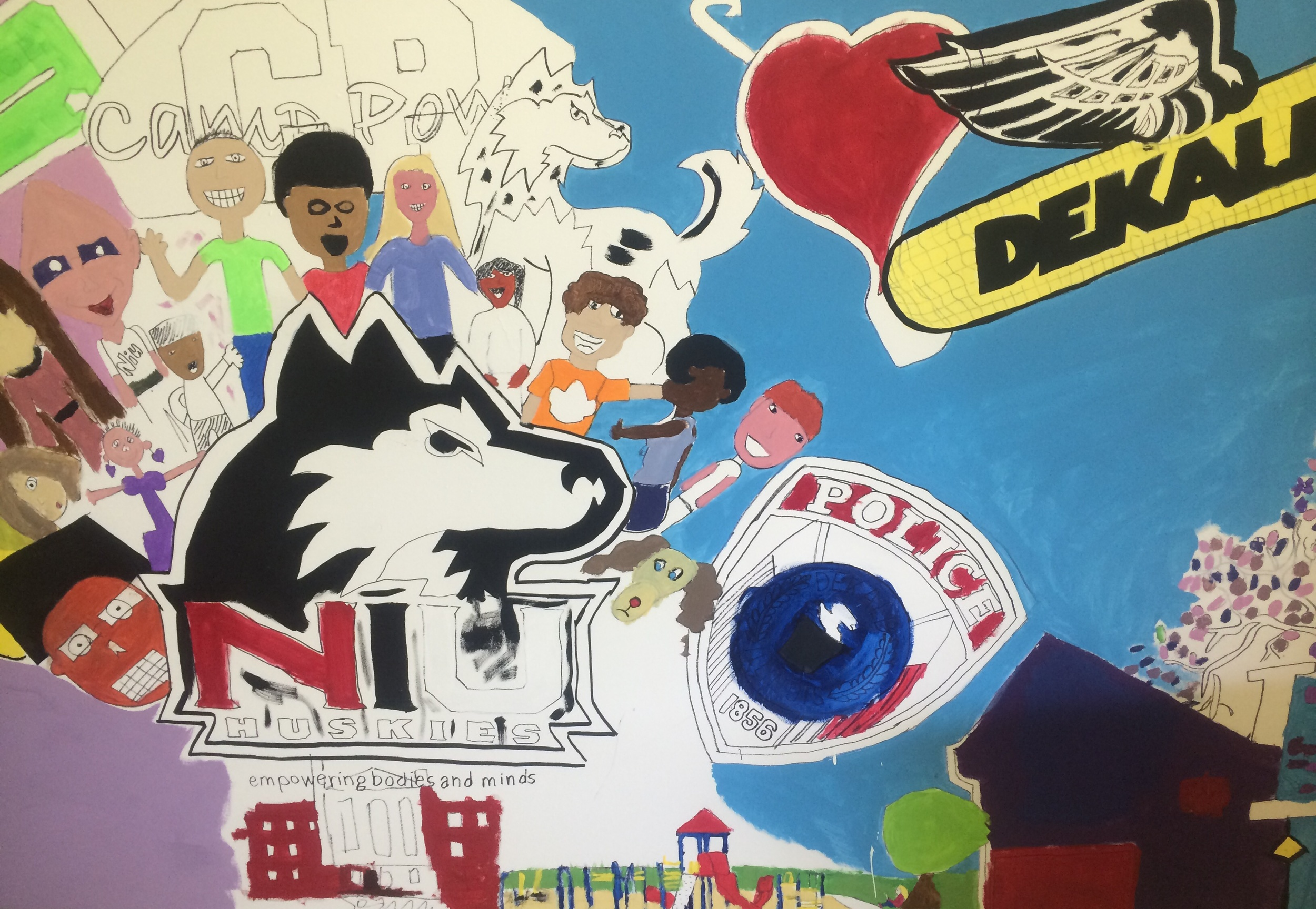 Early stages of University Village Mural