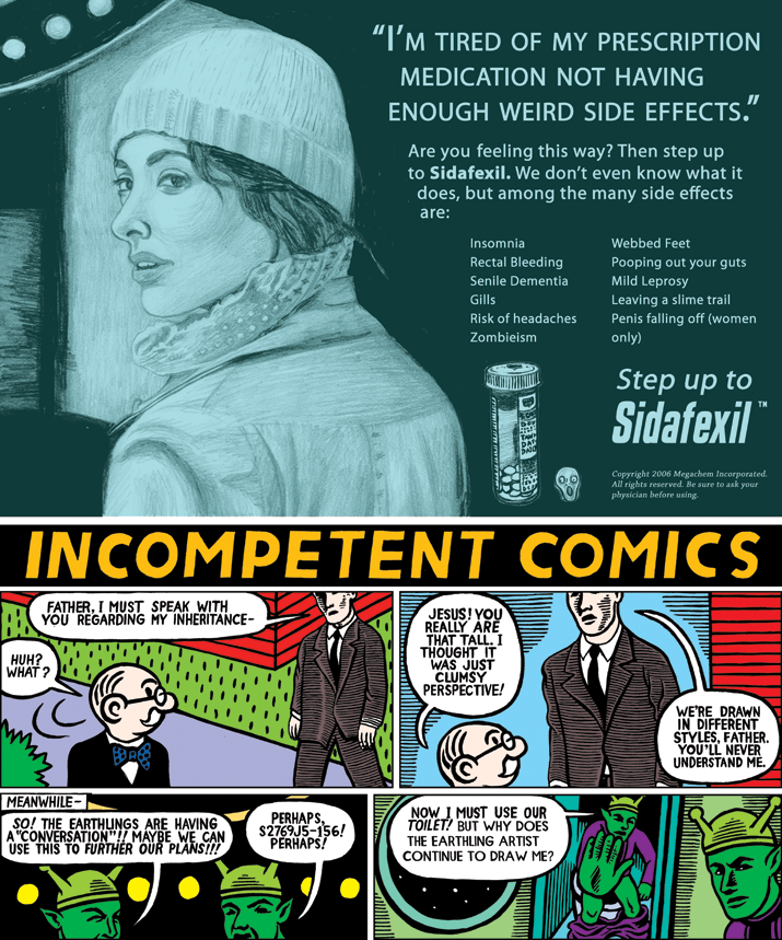 """Sidafexil Ad/Incompetent Comics""  The Believer,  2006"