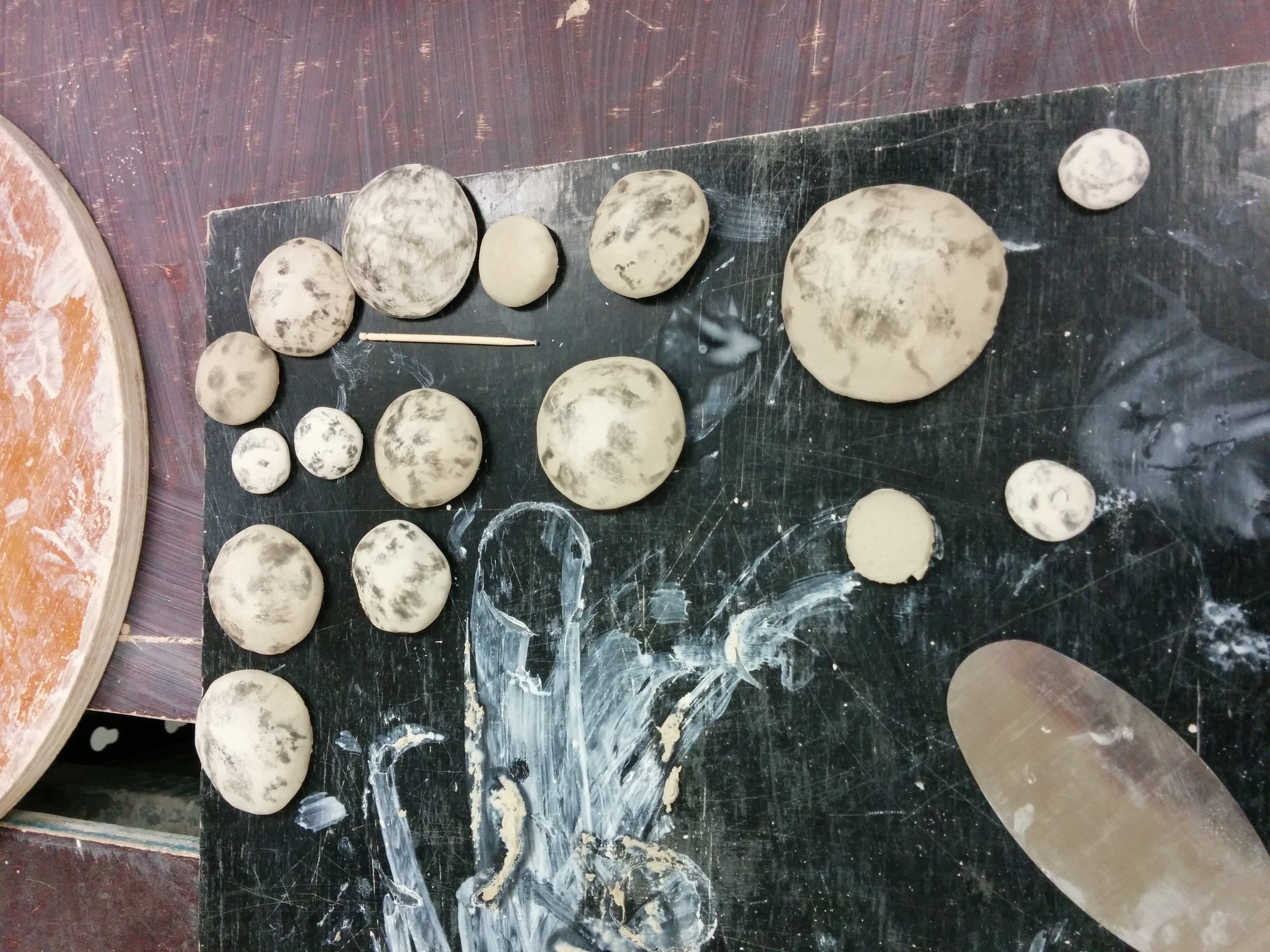 The original handformed clay pieces I used to create the moulds.