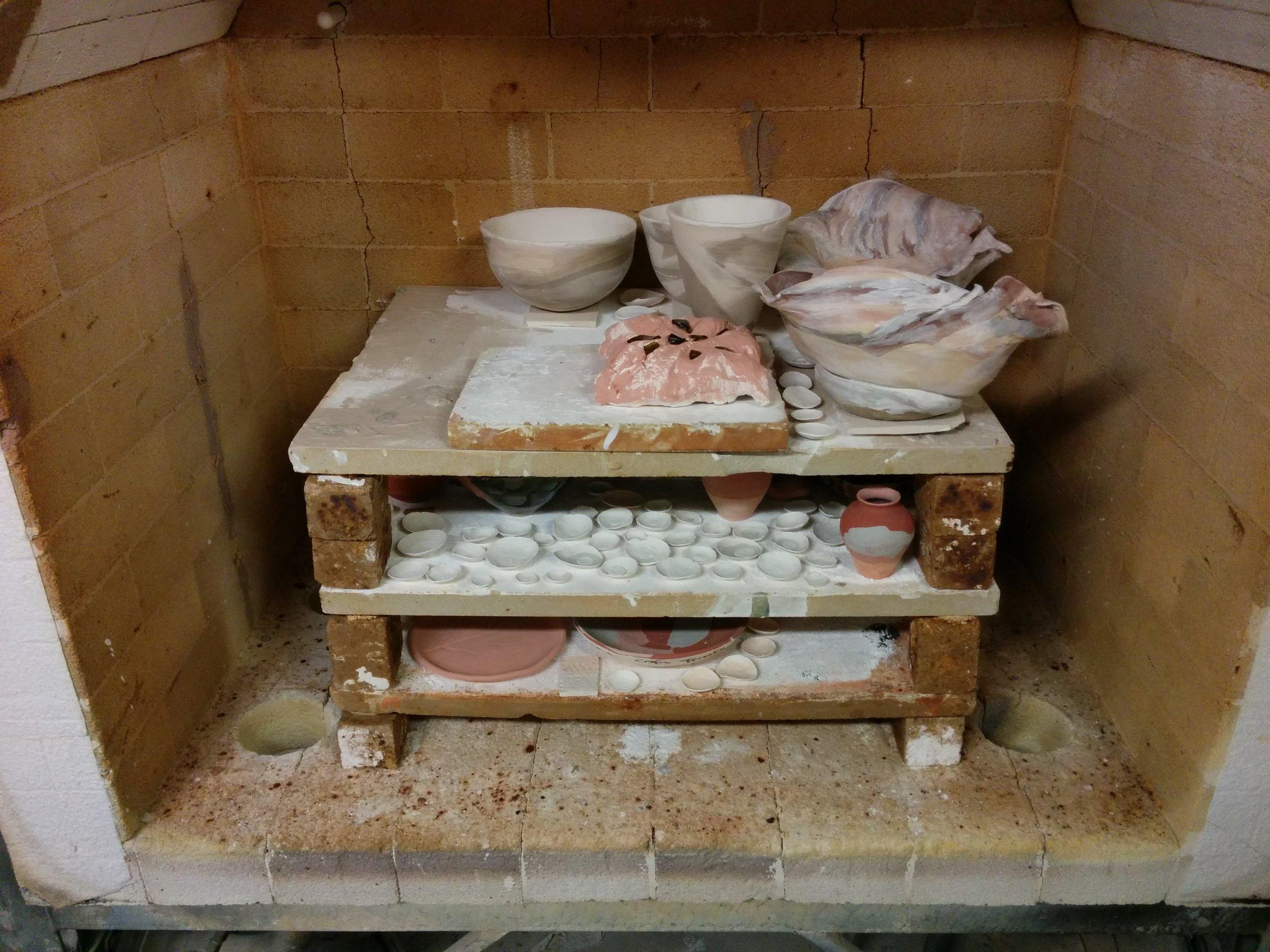 In the kiln.