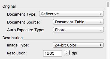 4) Scan DPI and image color bit