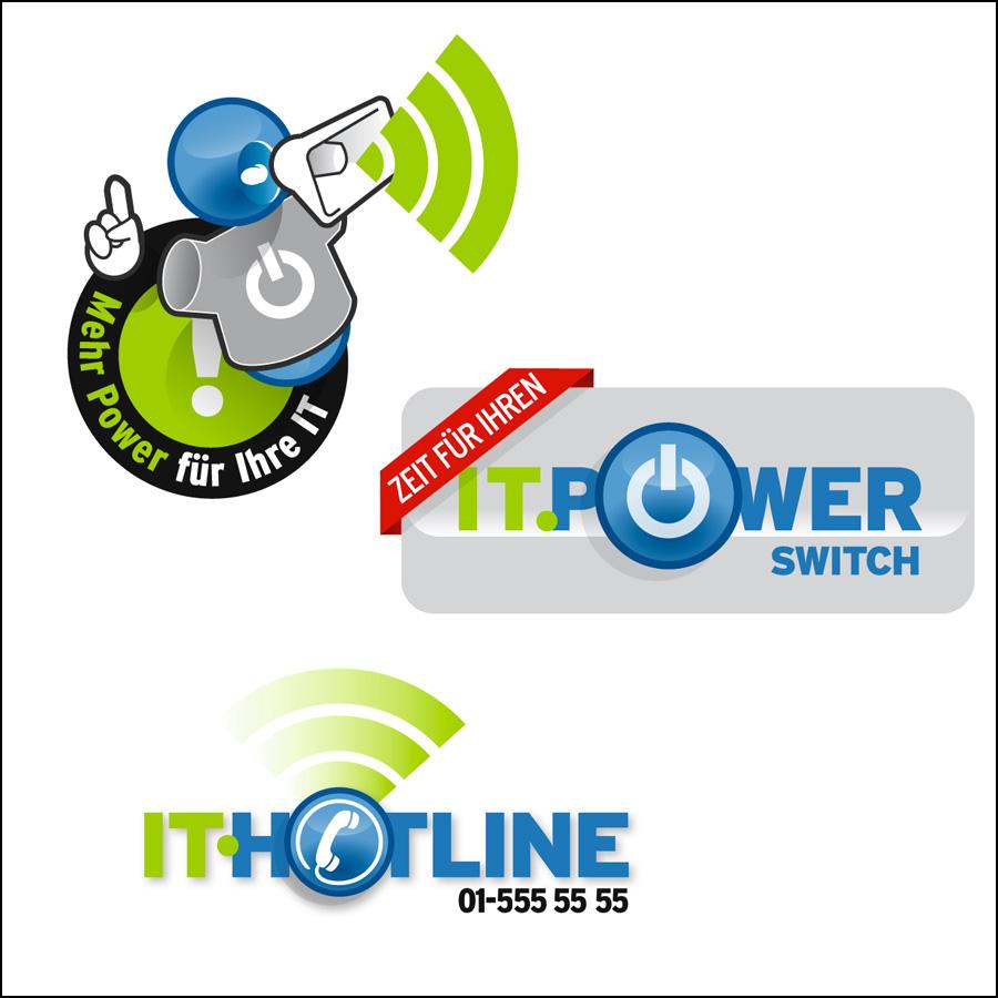 Sticker-Entwürfe für IT-Hotline- designed by harald