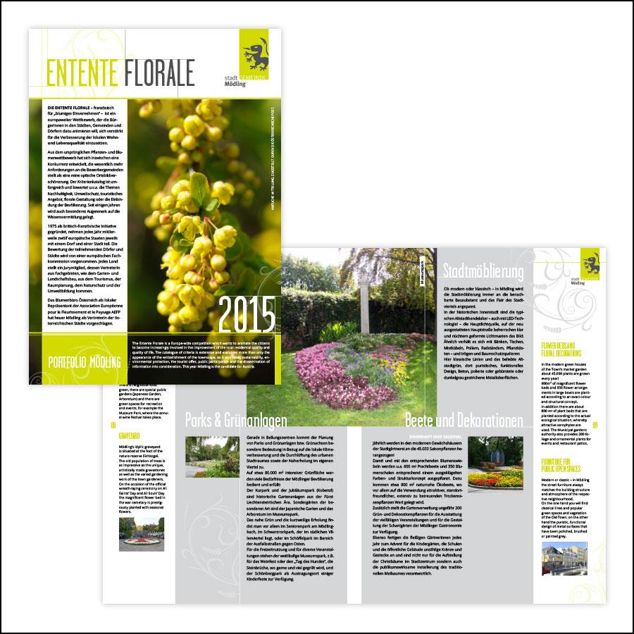 Portfolio der Stadtgemeinde Mödling zur Teilnahme an der Entente Florale 2015–designed by harald