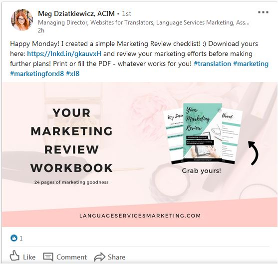 Meg offers a checklist to Language Services Marketing subscribers (which is great!). I think there are some steps to make sure the funnel brings in more leads, starting with the social media posts