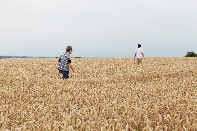 Two men walking through field of wheat in Belgium
