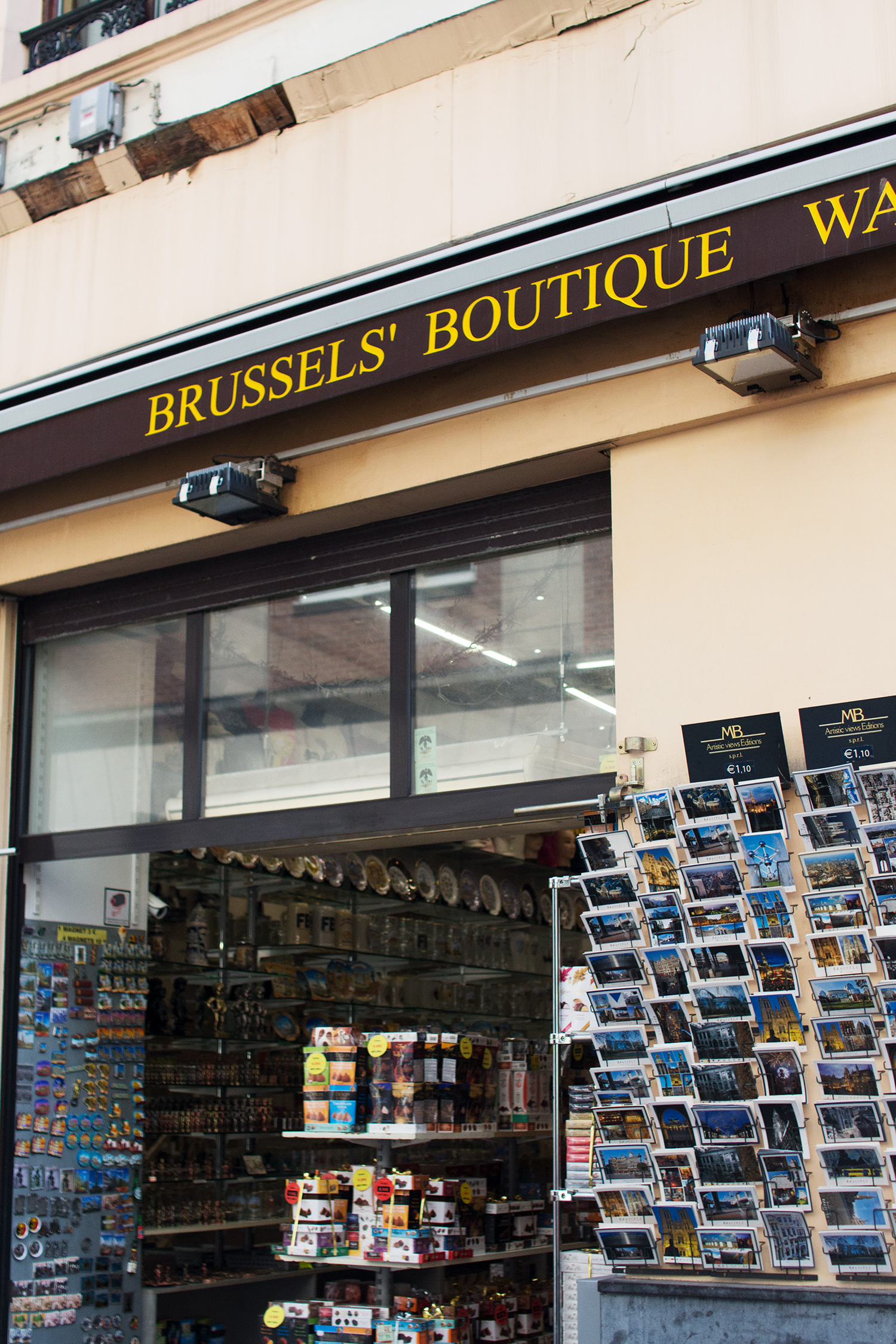 Brussels Boutique tourist store selling postcards