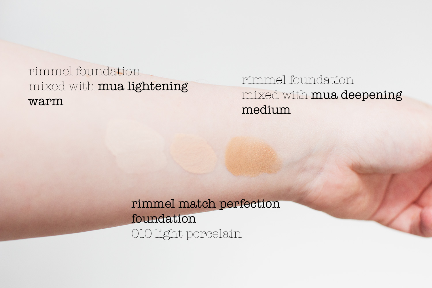 MUA Pro Custom Colour Foundation Mixers in Lightening Warm and Deepening Medium swatches, when mixed with Rimmel Match Perfection Foundation in 010 Light Porcelain. Photography by Alice Red.