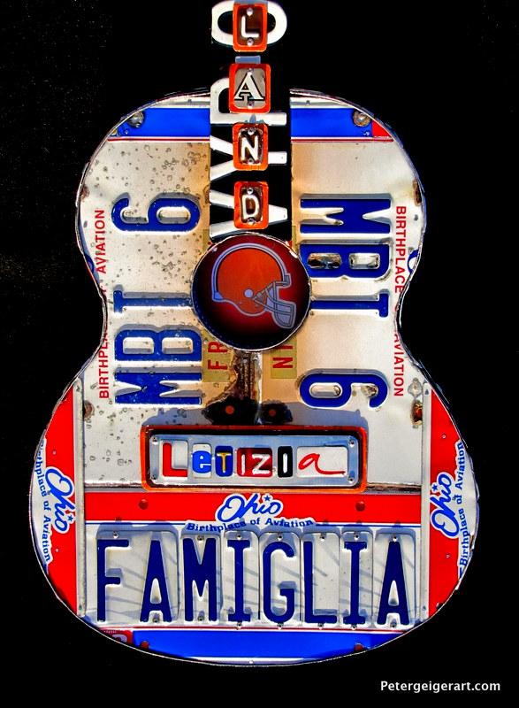license plate guitar art retirement gift