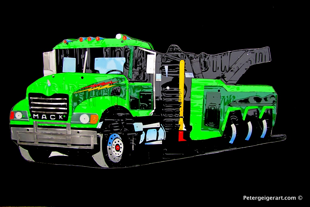 This Mack truck was conceived after a conversation with a towing company. It is being given to their owner for the holidays.   The piece is BEAUTIFUL. We had our gift exchange yesterday and my boss was very happy with it, loved the art made out of license plates....i dare say the perfect gift.  LauriaBennett's Garage & Towing, Inc.  (800) 832-6917