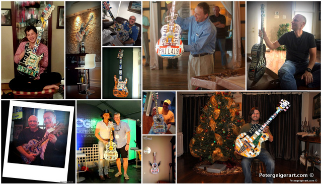 My clients proudly share photos of them displaying their handmade gifts - license plate guitars that tell their stories.