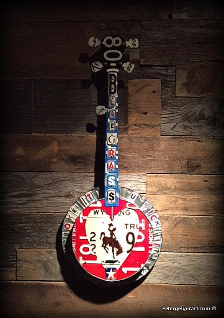 license plate art banjo