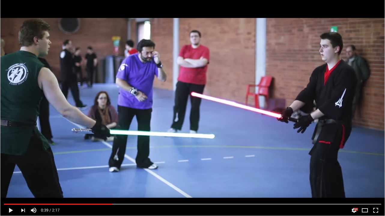 Video of aspiring jedis taking classes in light saber combat. Yes, that is a thing.