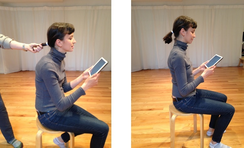 The image on the left shows the head tipping back and downward as the chin pokes out. the whole body is affected by this downward pressure.  The image on the right shows the head balance on the spine, which facilitates staying upright and relaxed.
