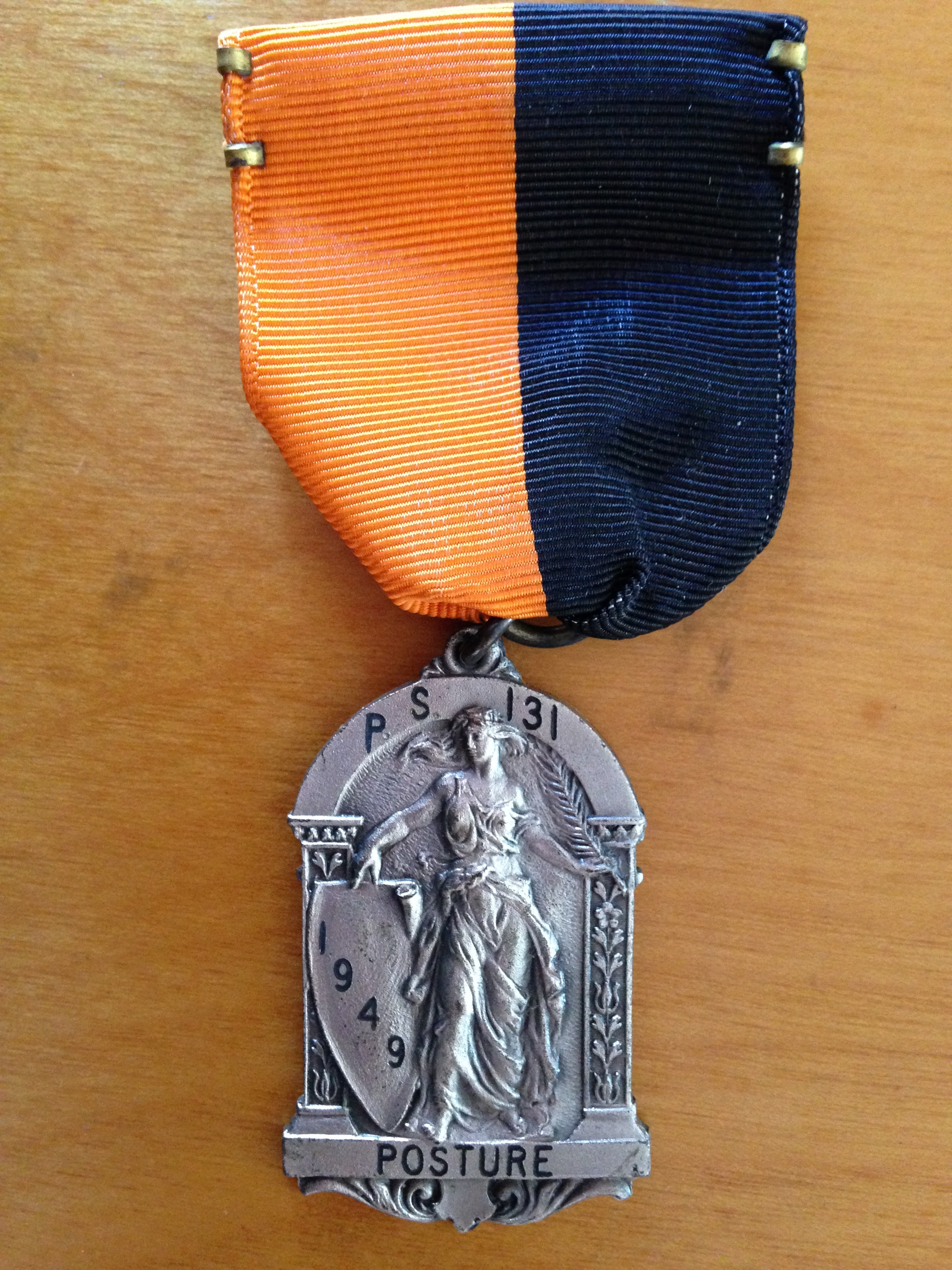 Alm'as Posture Medal from P.S. 131 in Queens, 1949