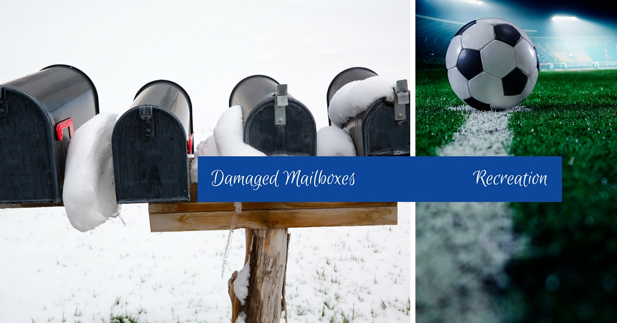 damaged mailboxes and recreation programs