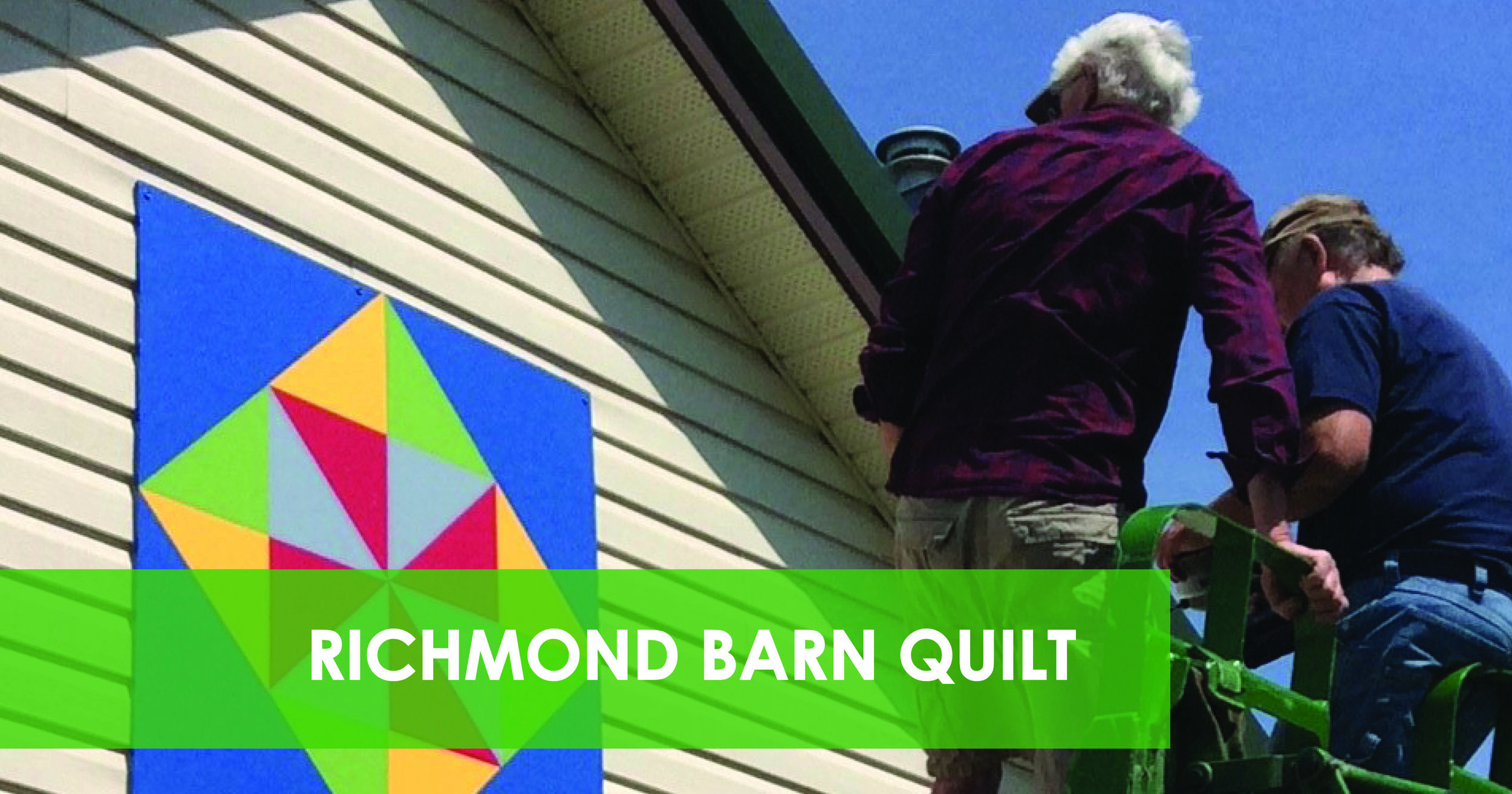The first barn quilt was installed on the dining hall in Richmond! This barn quilt is to celebrate the loyalist settlers of Richmond... red and grey for the uniforms, yellow and green for the fields of corn and blue for the Mighty Jock River. Thanks to Peter and Alison Tranter for the picture!