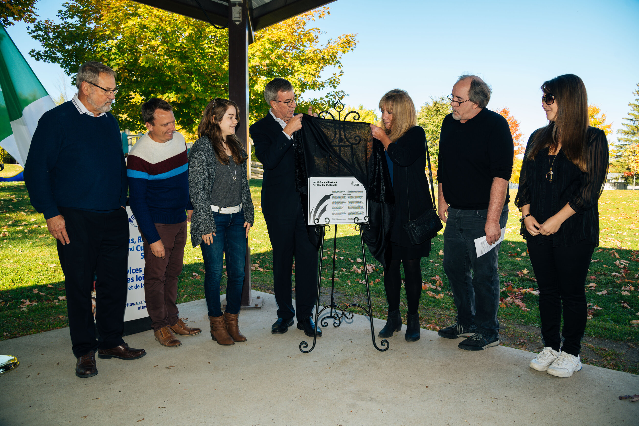 """On Friday, October 11th, there was a commemorative naming ceremony to rename the Pavilion in Centennial Park to the """"Ian McDonald Pavilion."""" Ian was a long-time Manotick resident and known to many in the community.  Thank you to David Wildman for submitting this commemorative naming application to the City!"""