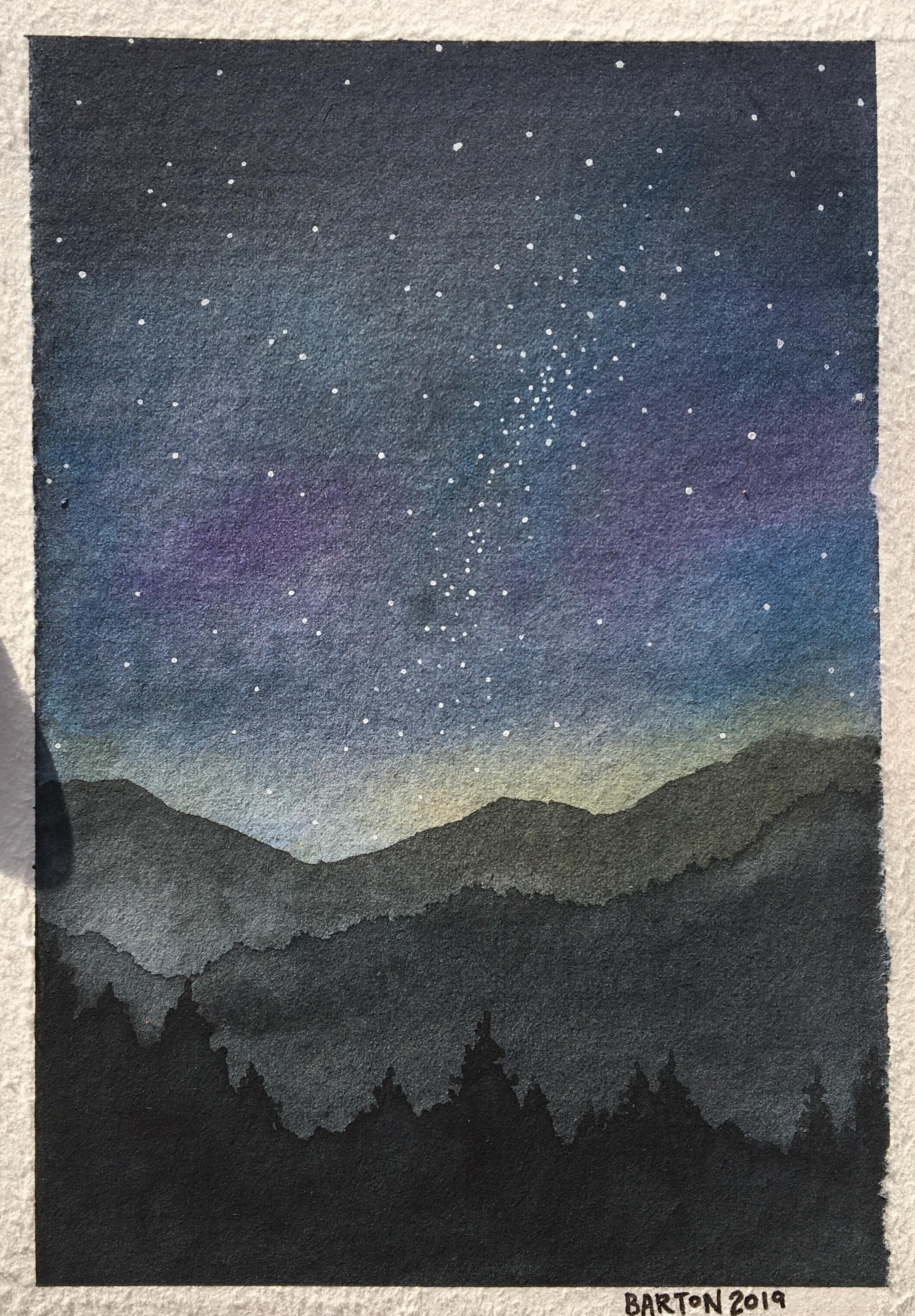 "Milky Way Mountains 5""x7"" original. $75"