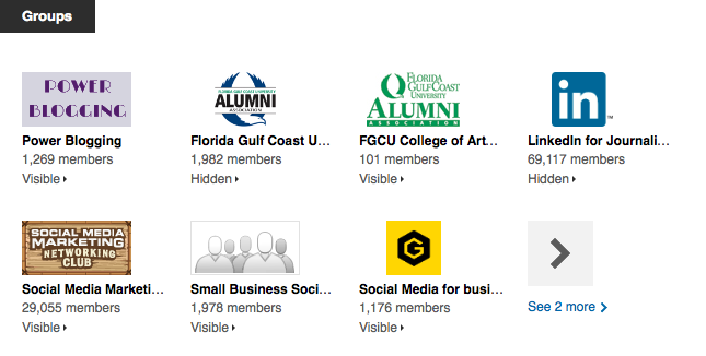Image of Linkedin groups screenshot