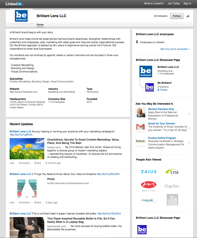 Image of Be Brilliant Marketing Linkedin Company page