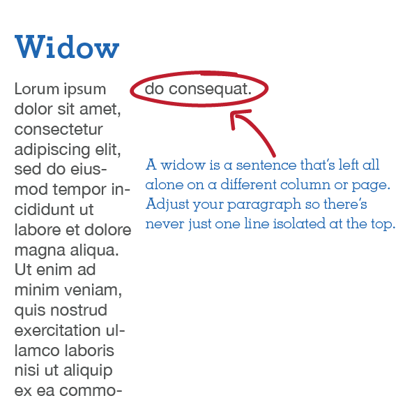 Image of Widow text example, with definition