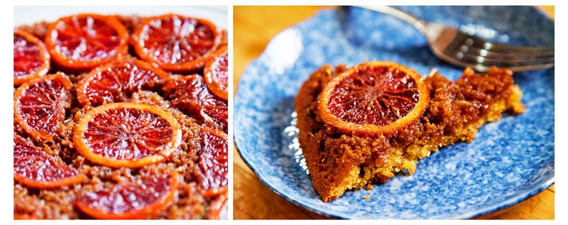piced blood orange upside-down cake.
