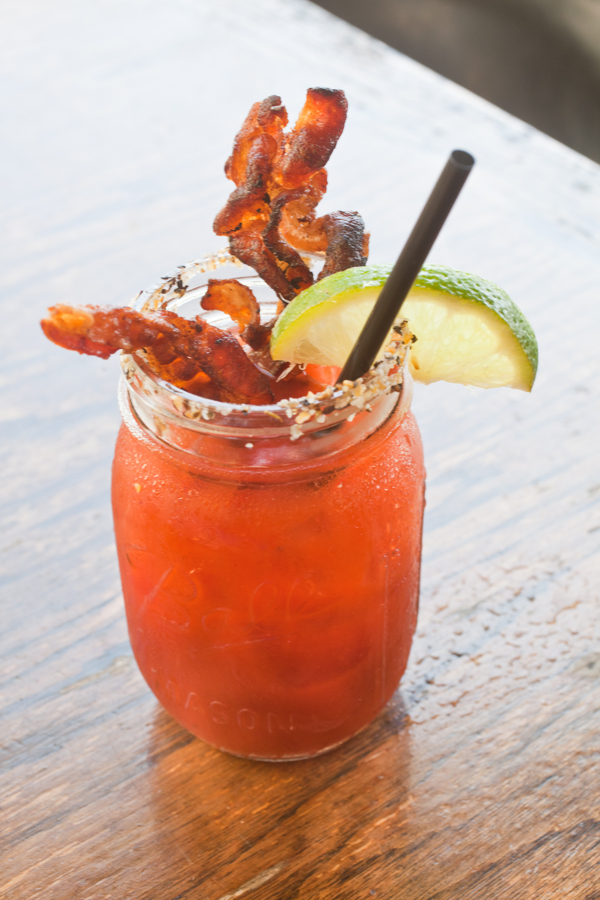 smoked Bloody Mary's with bacon.  Tybee Island Social Club .