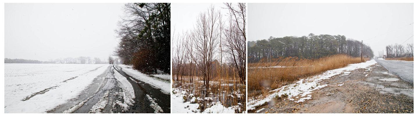 snow, slush, sleet.