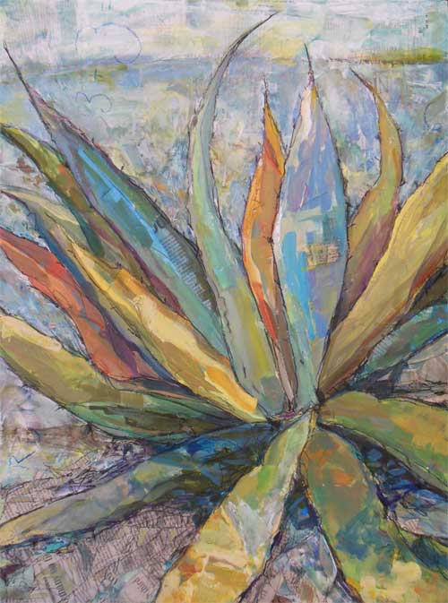 Cap Rock Agave (Acrylic with collage).jpg